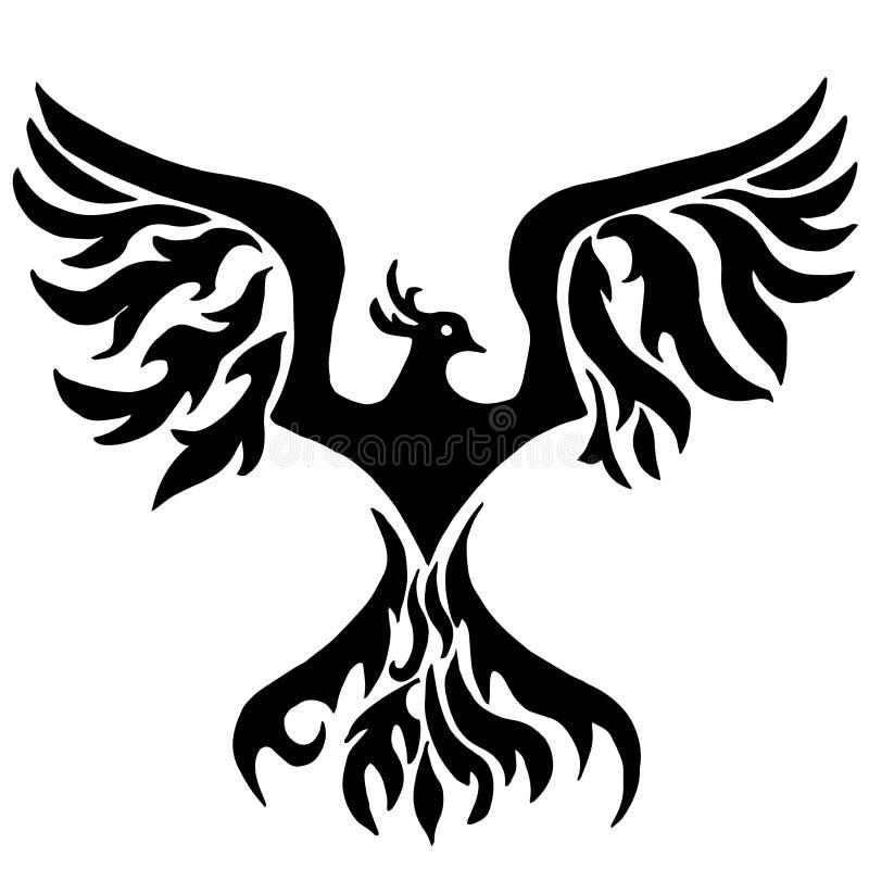 Pássaro mágico Phoenix para colorir ilustração royalty free