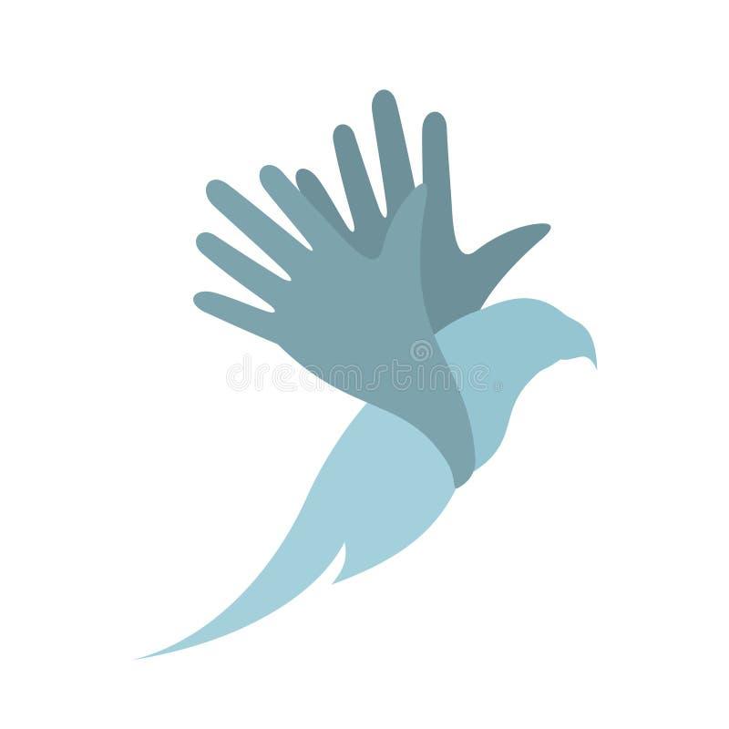 Pássaro na mão ilustração do vetor
