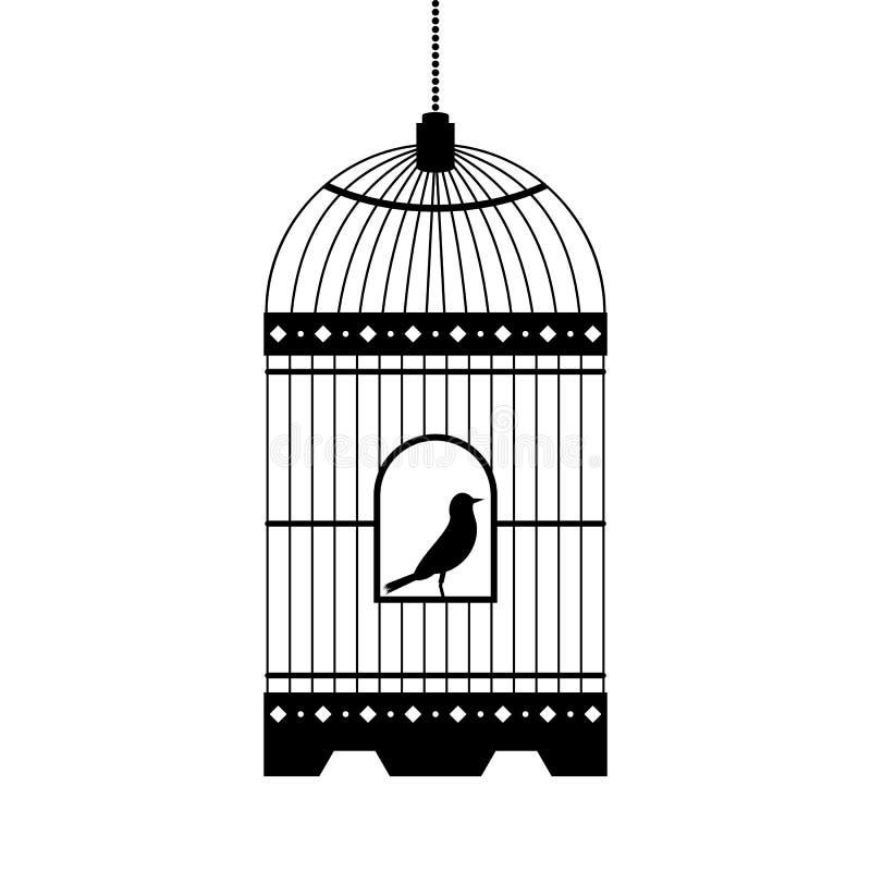 Pássaro na silhueta do vetor da gaiola ilustração stock
