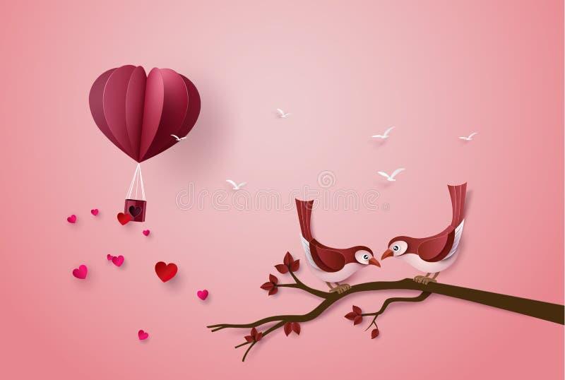 Pássaro no amor e coração do balão para o dia de Valentim ilustração stock