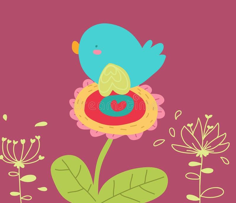 Pássaro no cartão dos desenhos animados da flor ilustração do vetor