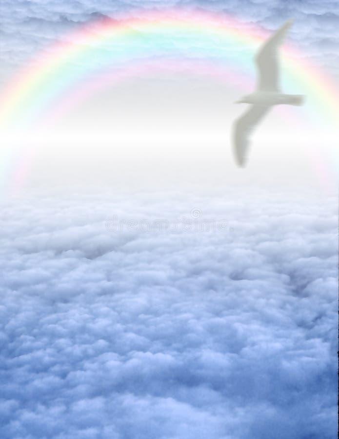 Pássaro no cloudscape sereno ilustração royalty free
