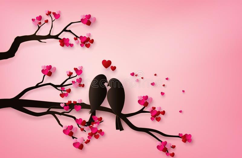 Pássaro no estilo da arte do papel do amor ilustração stock