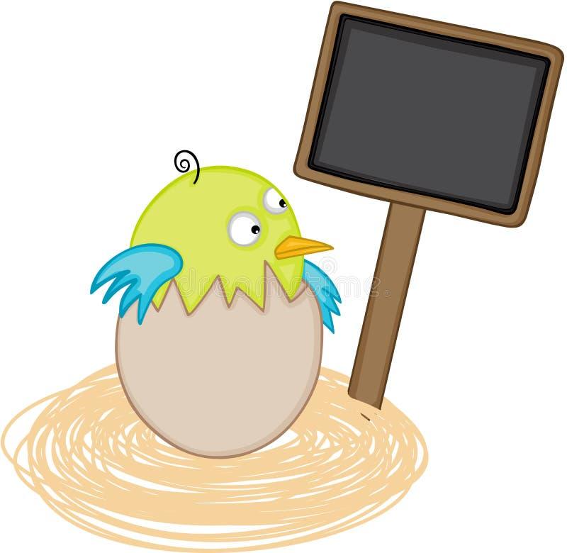 Pássaro no ninho do ovo com sinal de madeira vazio ilustração stock