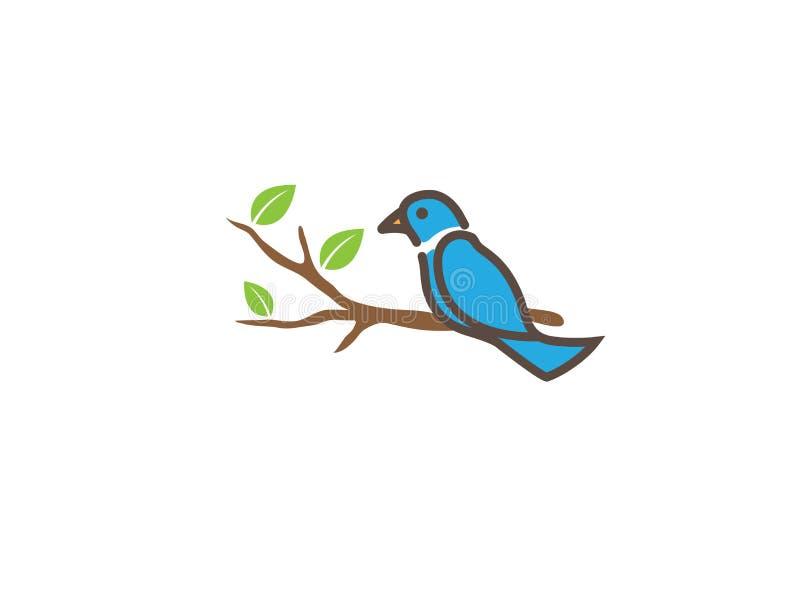 Pássaro nos ramos com as folhas para o projeto do logotipo, ilustração do ícone da pomba ilustração stock