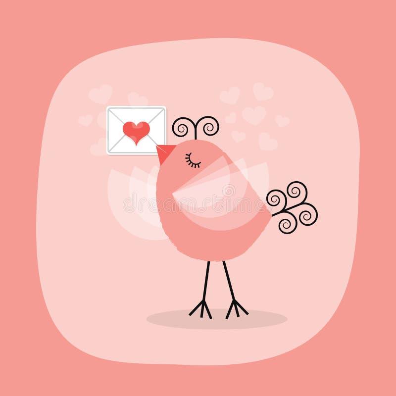 Pássaro pequeno bonito que guarda a carta de amor no fundo cor-de-rosa ilustração do vetor
