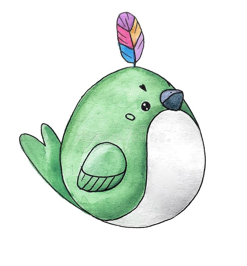 Pássaro pequeno da floresta bonito da aquarela dos desenhos animados Grinalda floral bonita pintado à mão perfeita para a fatura  ilustração stock