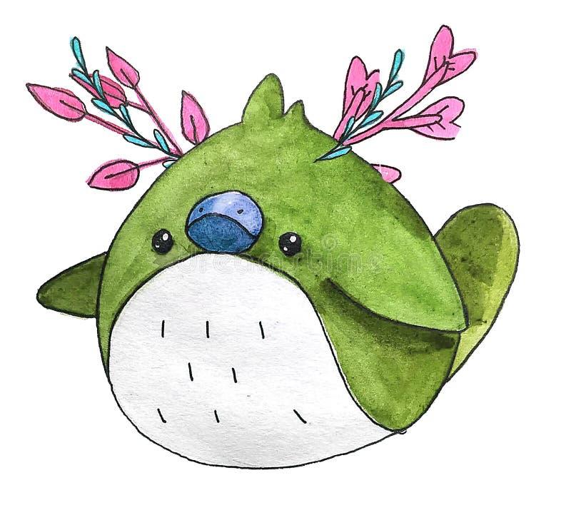 Pássaro pequeno da floresta bonito da aquarela dos desenhos animados Grinalda floral bonita pintado à mão perfeita para a fatura  ilustração royalty free
