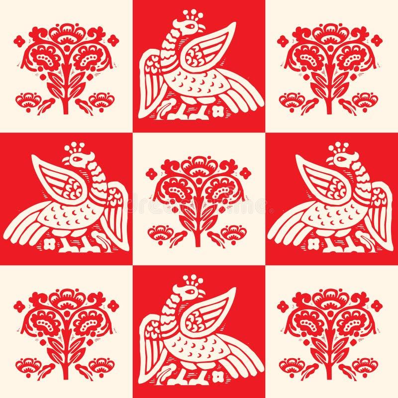 Pássaro Phoenix do fogo, teste padrão sem emenda, ilustração do vetor Logotipo de Firebird ilustração stock