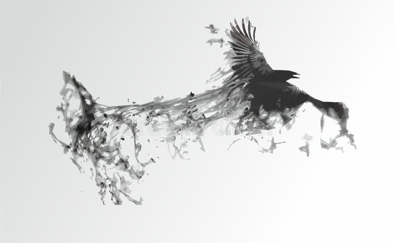 Pássaro preto em um fundo branco ilustração stock