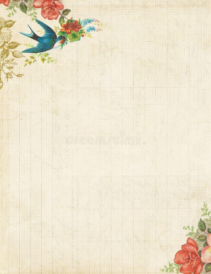 Pássaro Printable e rosas estacionários ou fundo do vintage