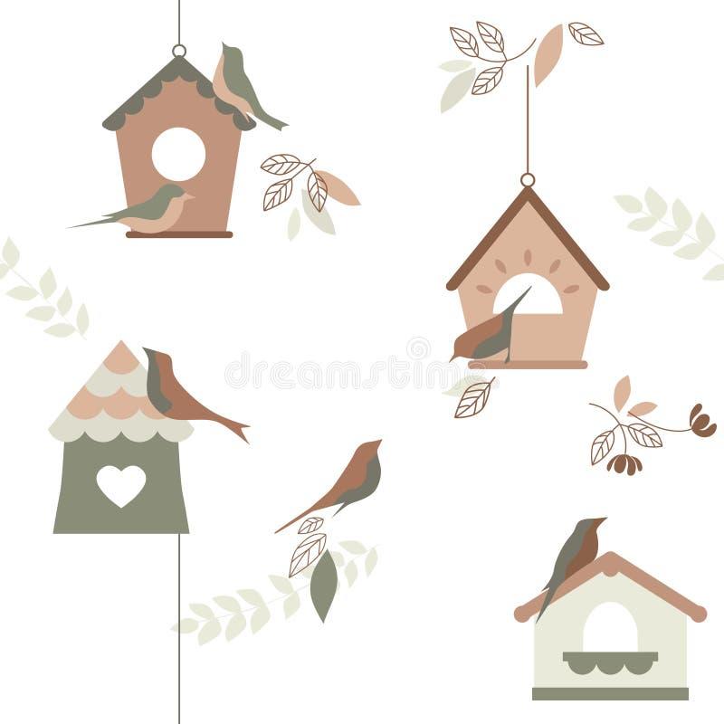 Pássaro que produz casas, papel de parede, repetindo o teste padrão, ilustração do vetor ilustração stock