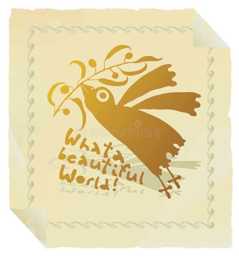 Pássaro que promove o ouro da paz com beira ilustração stock