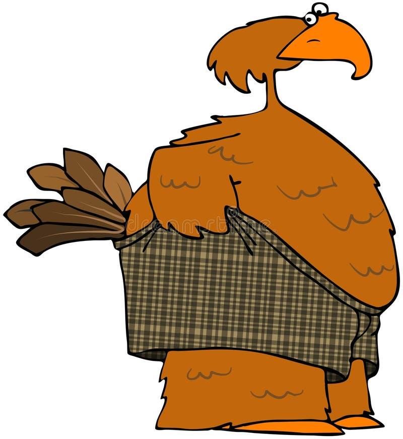 Pássaro que puxa em seus Shorts do pugilista ilustração stock