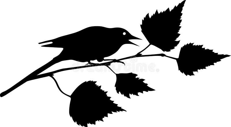 Pássaro que senta-se no ramo ilustração royalty free