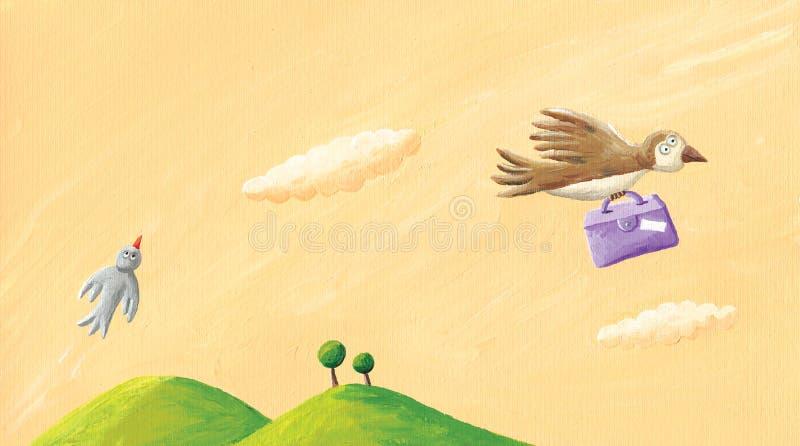 Pássaro que voa sobre os montes e que leva uma mala de viagem ilustração do vetor