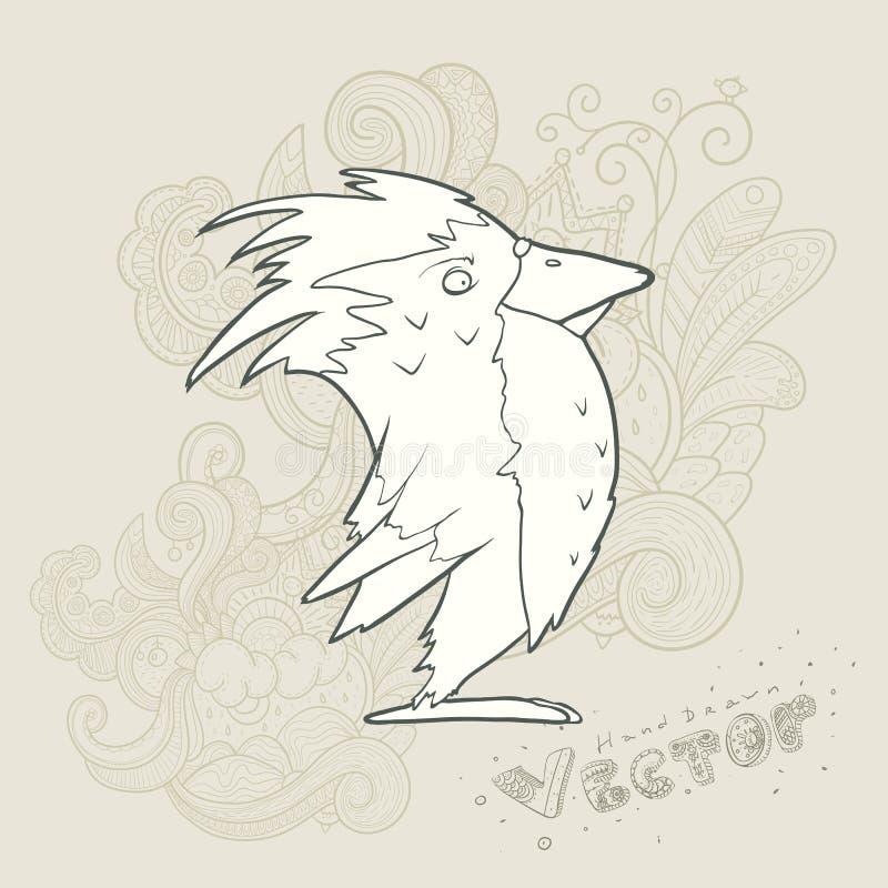 Pássaro retro tirado mão dos desenhos animados do vetor da ilustração ilustração stock