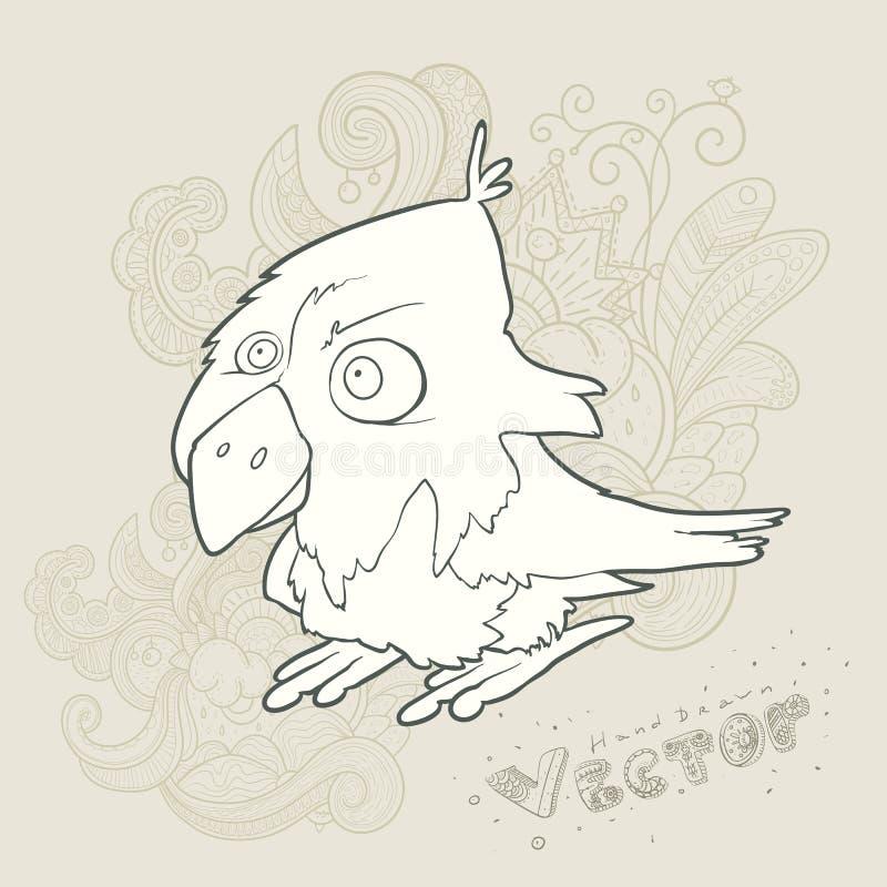Pássaro retro tirado mão dos desenhos animados do vetor da ilustração ilustração do vetor