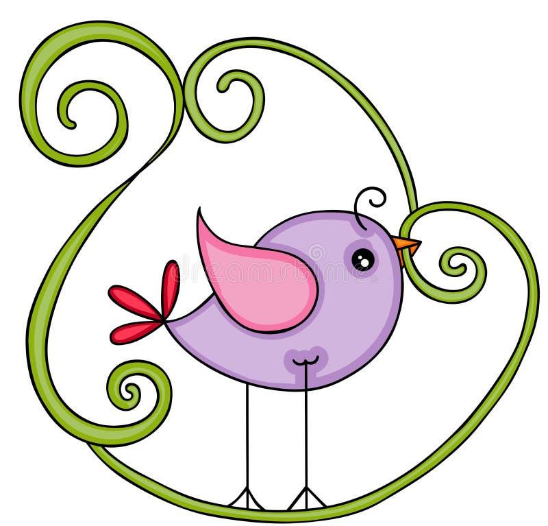 Pássaro roxo bonito ilustração royalty free