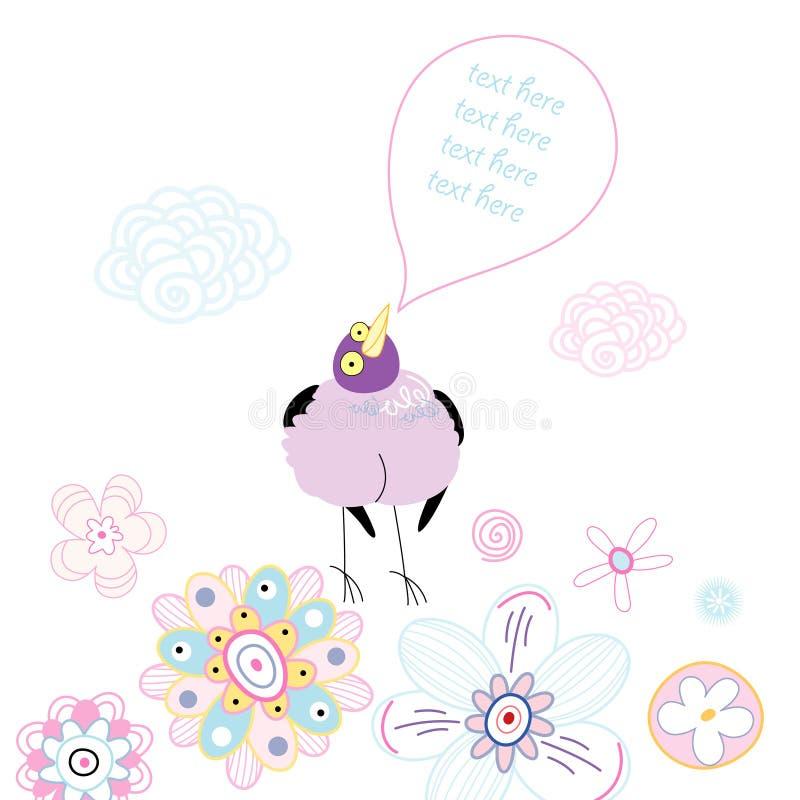 Pássaro roxo engraçado em um fundo floral ilustração do vetor