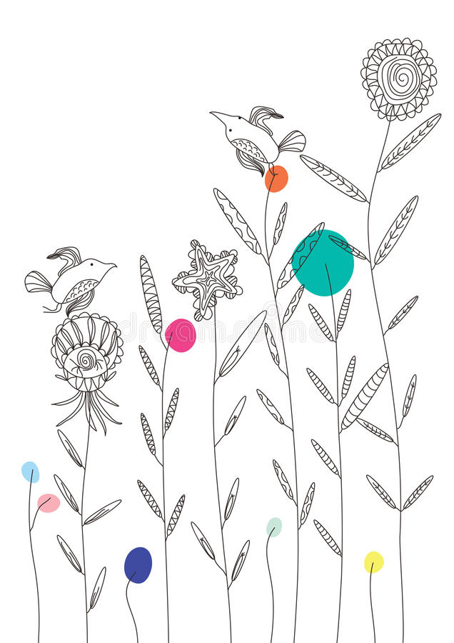 Pássaro Simple_eps da tração ilustração stock