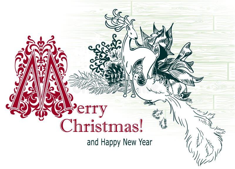Pássaro tirado dos cervos dos brinquedos da árvore do esboço do vetor do cartão de Natal estilo retro imagens de stock