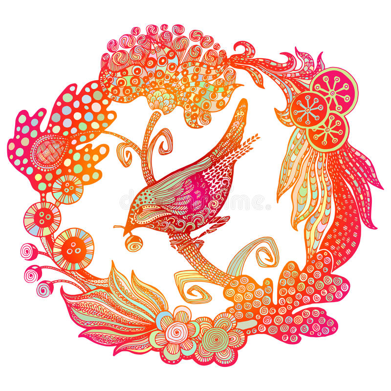 Pássaro tirado mão na grinalda ilustração do vetor