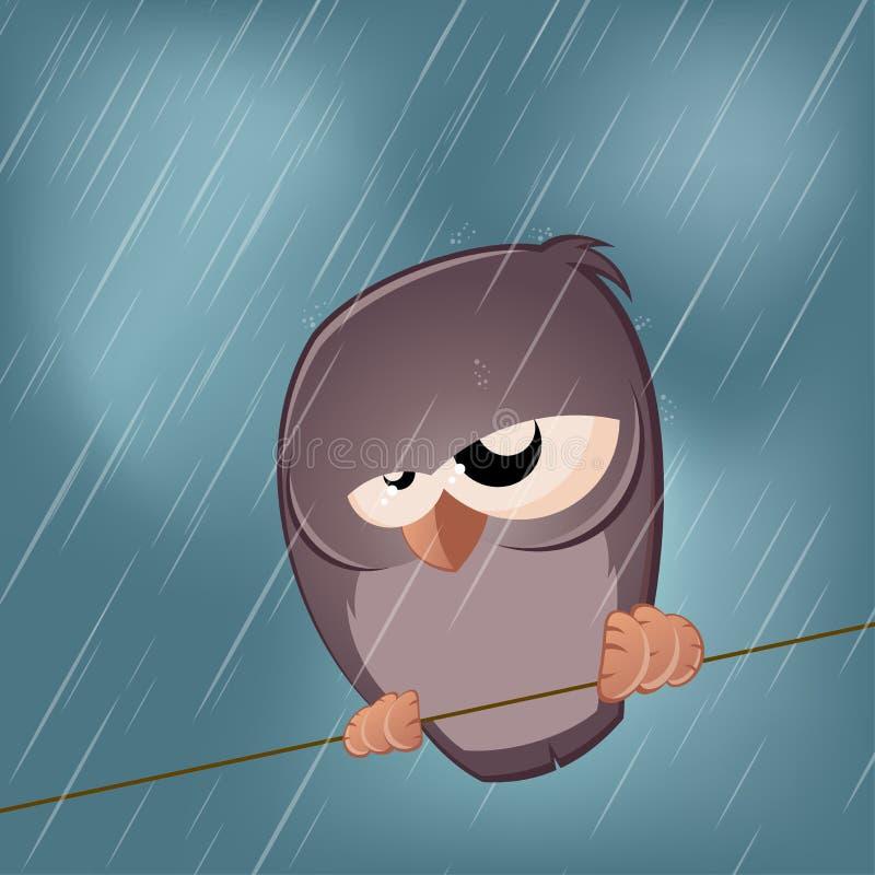 Pássaro triste em um dia chuvoso ilustração do vetor