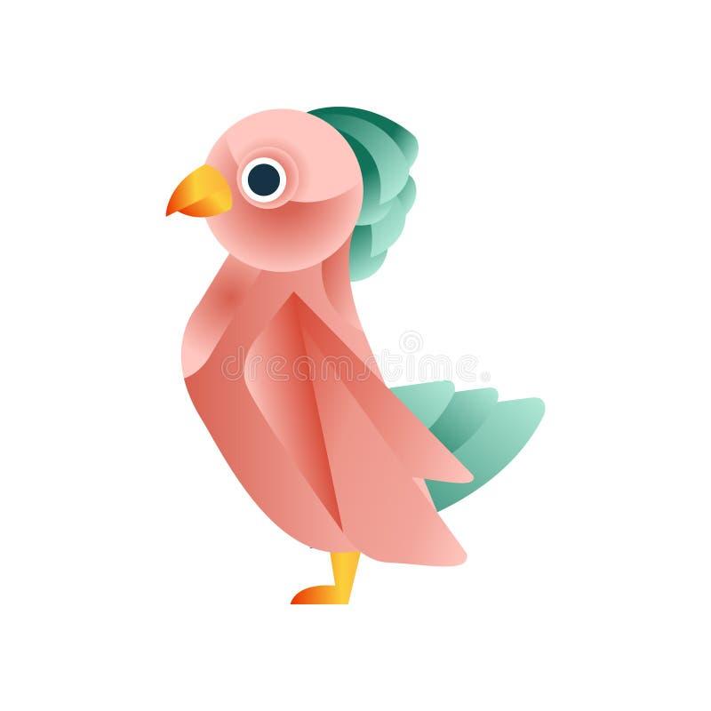 Pássaro tropical colorido, baixa ilustração poli animal geométrica estilizado do vetor do projeto ilustração do vetor