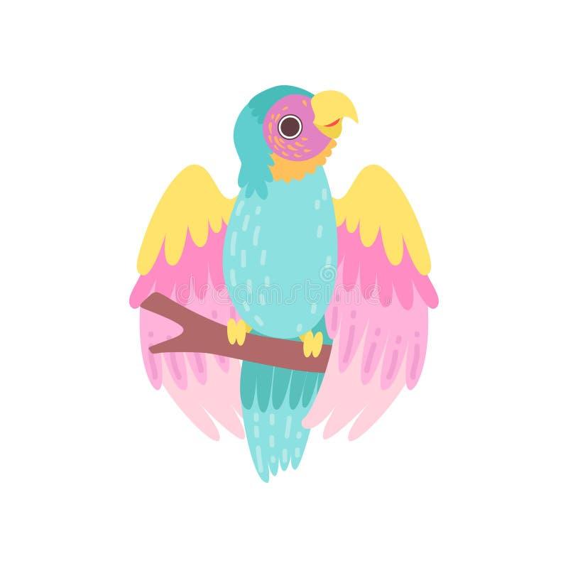 Pássaro tropical do papagaio com a plumagem iridescente que senta-se na ilustração do vetor da vara ilustração do vetor