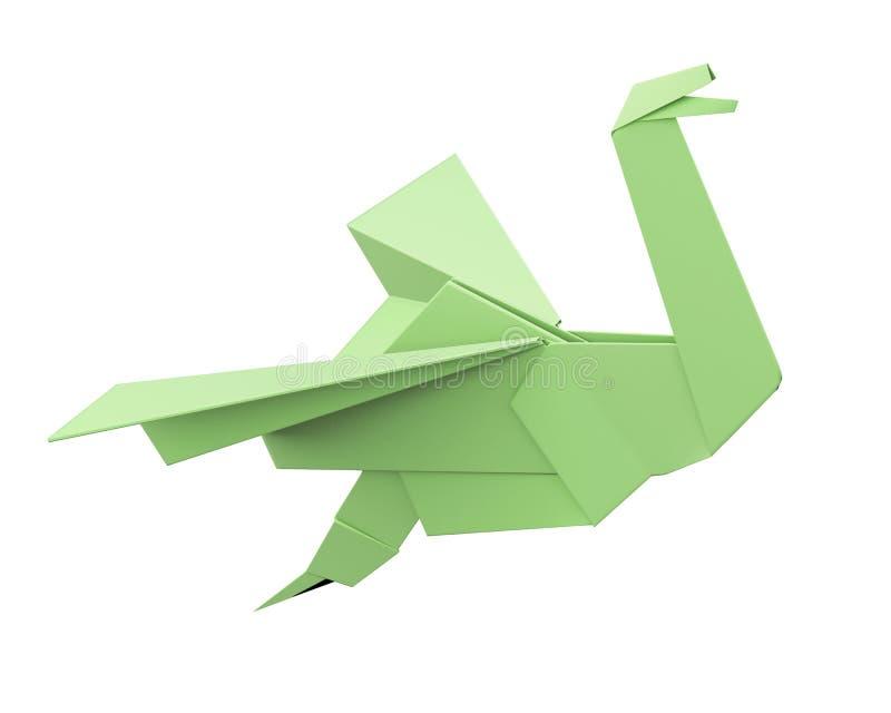 Pássaro verde do origâmi isolado no fundo branco rendição 3d ilustração stock