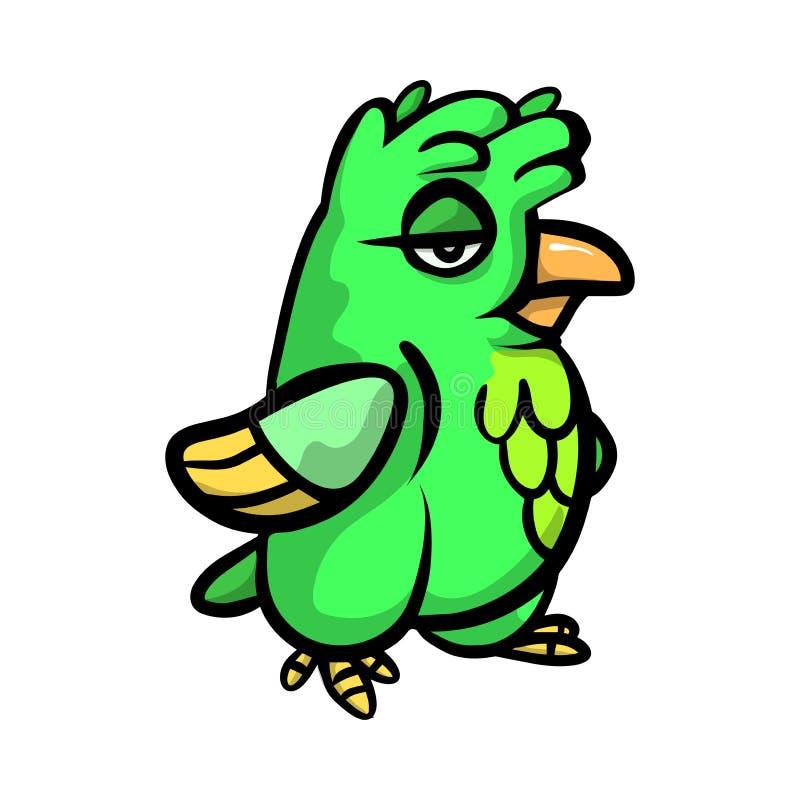 Pássaro verde engraçado bonito com emoções diferentes ilustração stock