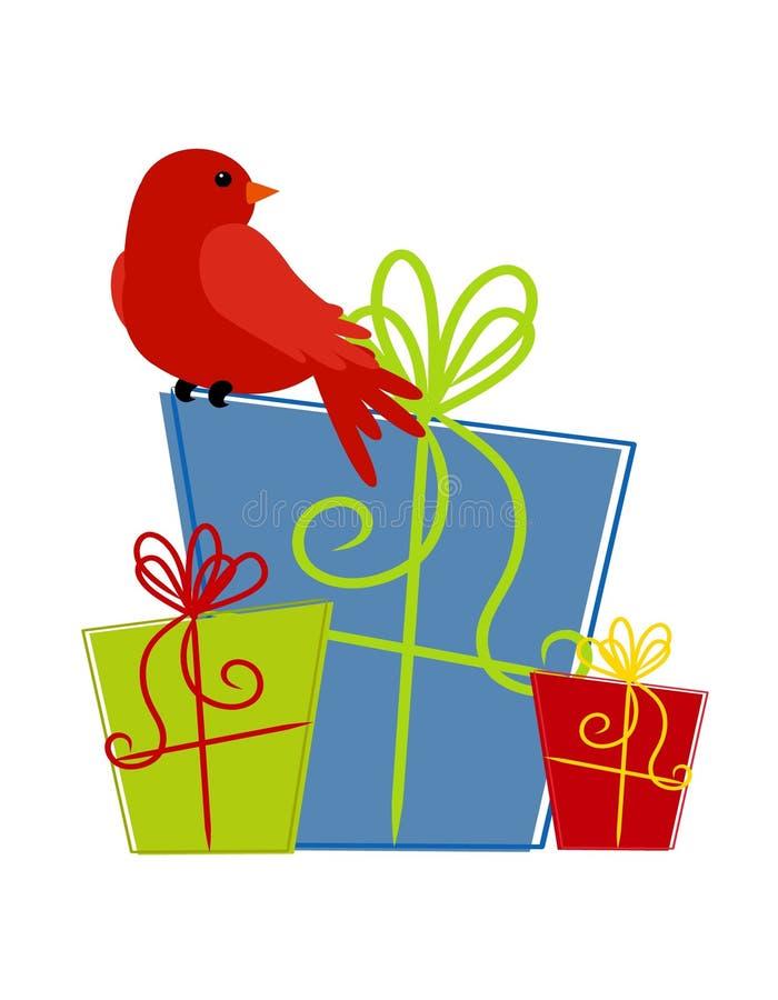Pássaro vermelho que senta-se em presentes ilustração royalty free