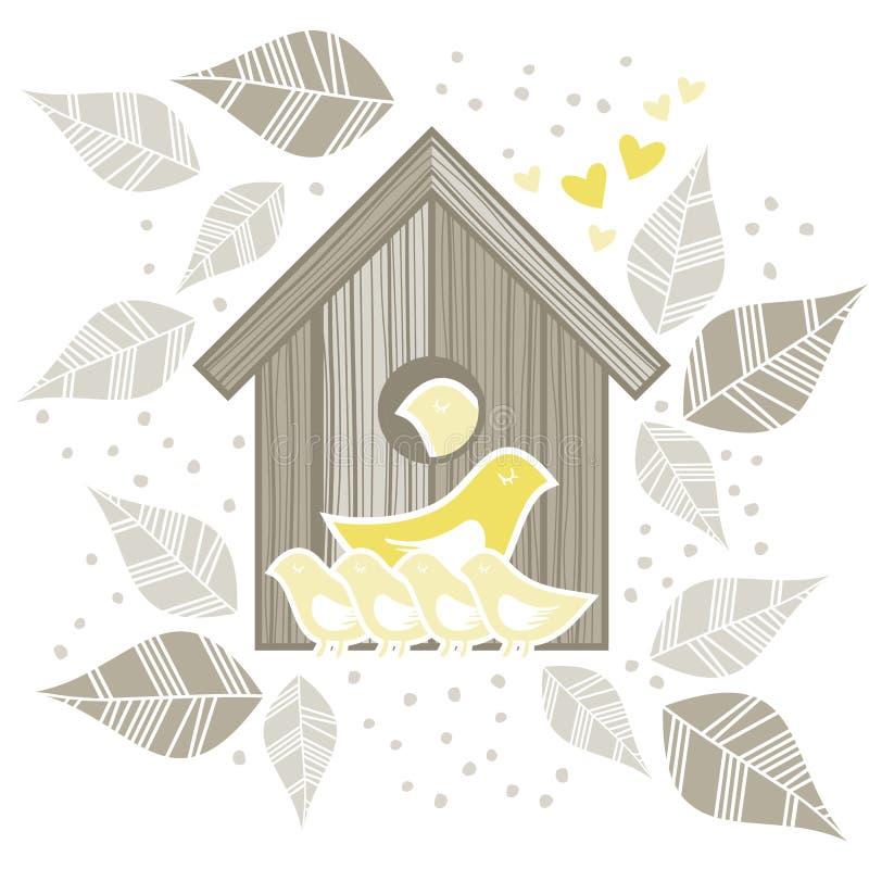 2 pássaros amarelos com as crianças na frente do pássaro de madeira ilustração do vetor