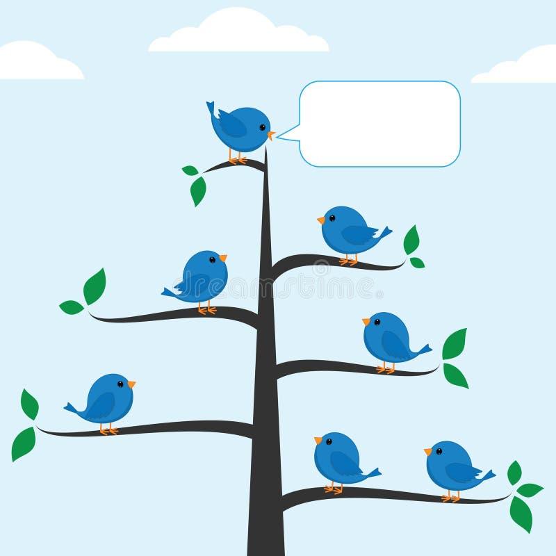 Pássaros azuis ilustração stock