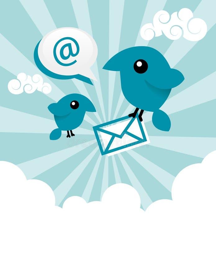 Pássaros azuis do email ilustração do vetor