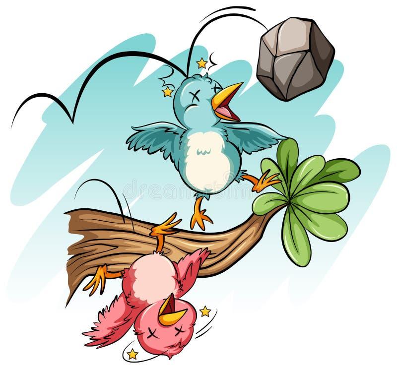 Pássaros batidos pela pedra ilustração stock