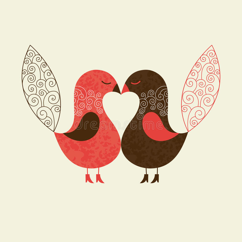 Pássaros bonitos ilustração do vetor