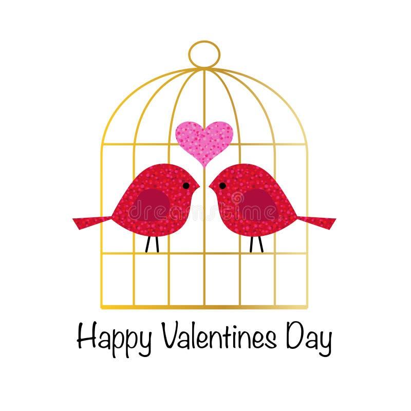 Pássaros bonitos do brilho do dia de Valentim com birdcage do ouro ilustração royalty free