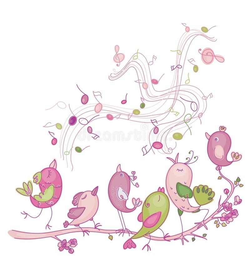 Pássaros bonitos do canto ilustração do vetor