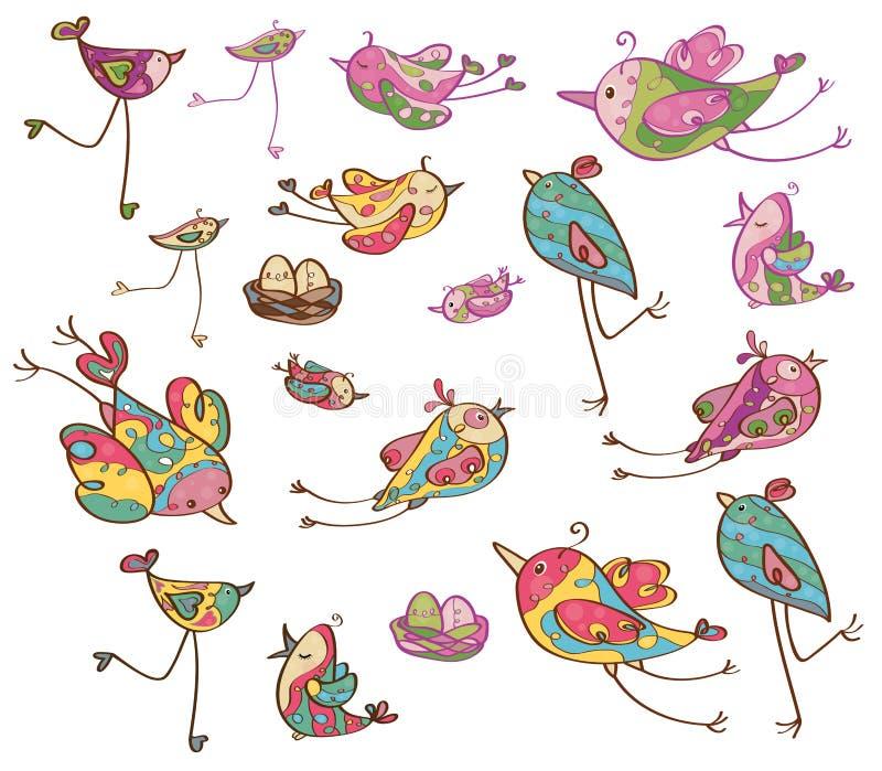 Pássaros bonitos do vetor ilustração royalty free