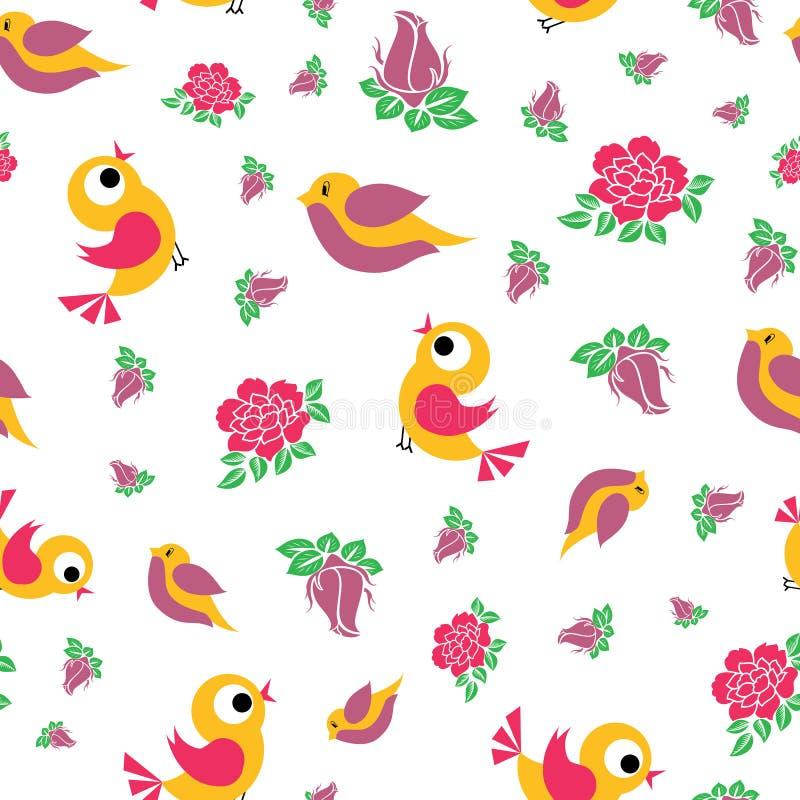 Pássaros bonitos do vetor e rosas bonitas sem emenda ilustração do vetor