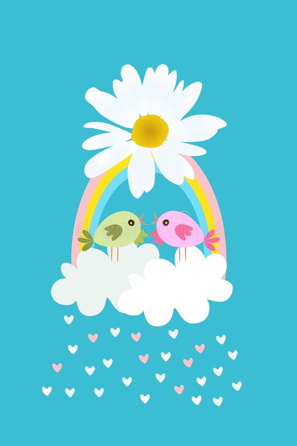 Pássaros bonitos dos desenhos animados na cesta estilizado no formulário das nuvens e do arco-íris com curva na flor da margarida ilustração stock
