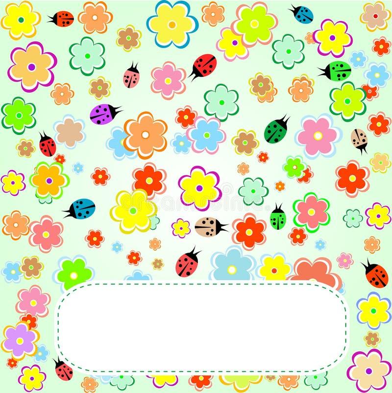 Pássaros bonitos e flores, cartão do amor do Valentim ilustração do vetor