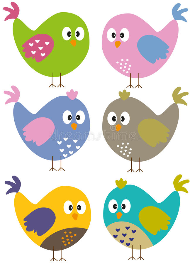 Pássaros coloridos ilustração royalty free
