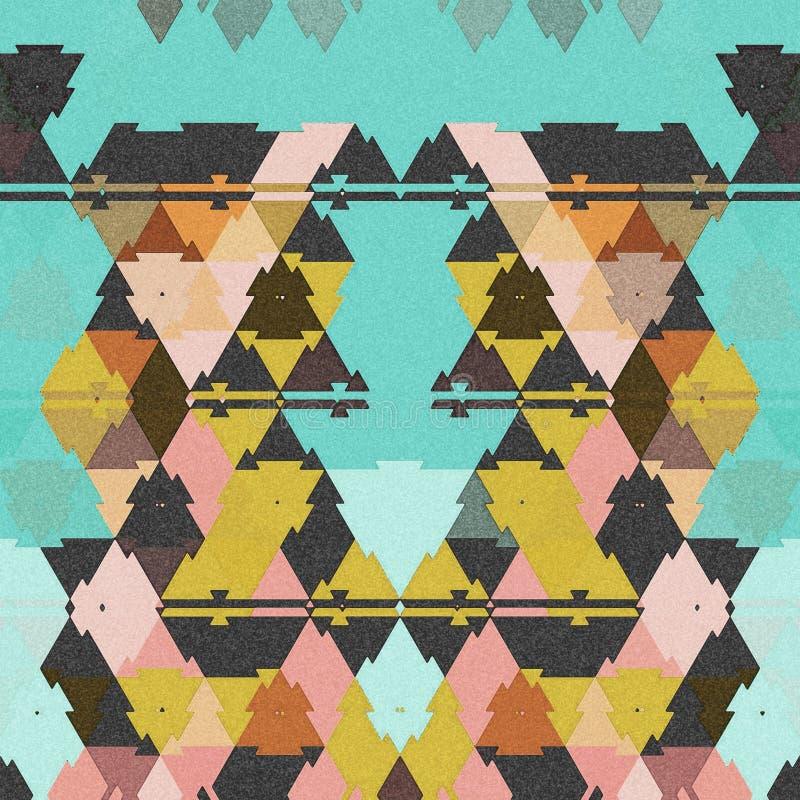 Pássaros coloridos abstratos da família na mola ilustração stock