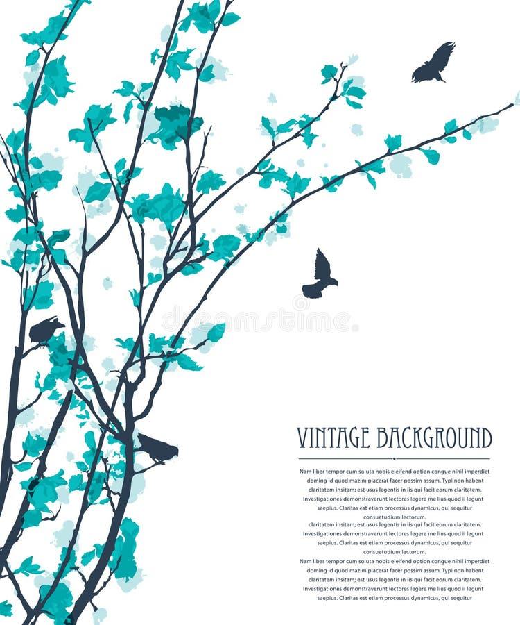 Pássaros coloridos cor pastel ilustração stock