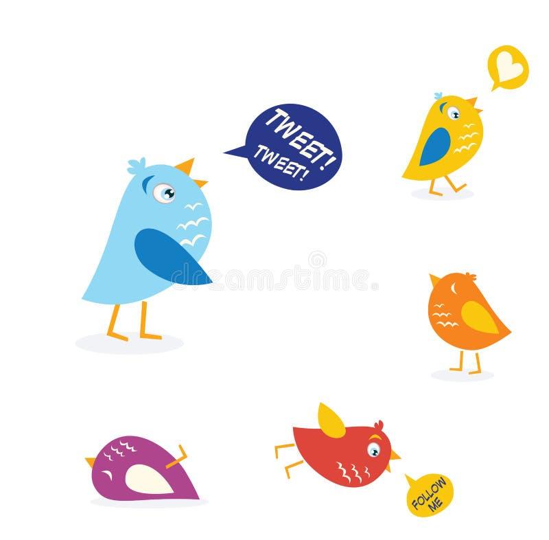 Pássaros coloridos do twitter ajustados ilustração royalty free