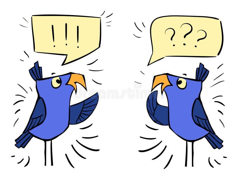 Pássaros com bolhas - choque da emoção, surpresa, bewildermen ilustração stock