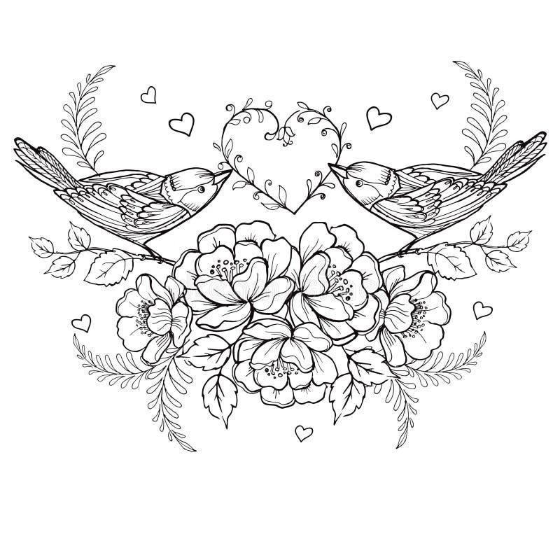 Pássaros com coração e rosas para a anti página da coloração do esforço ilustração stock
